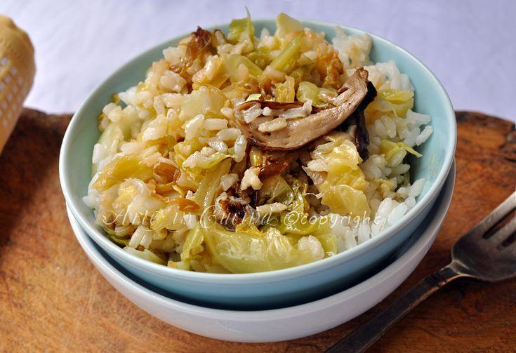 Riso con verza e funghi ricetta arte in cucina