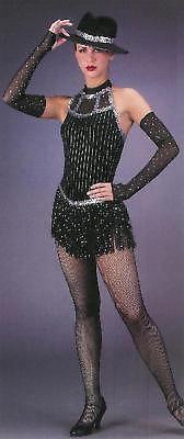 New BLACK DIAMOND Jazz Tap Fringe Dance Costume Sz Var.