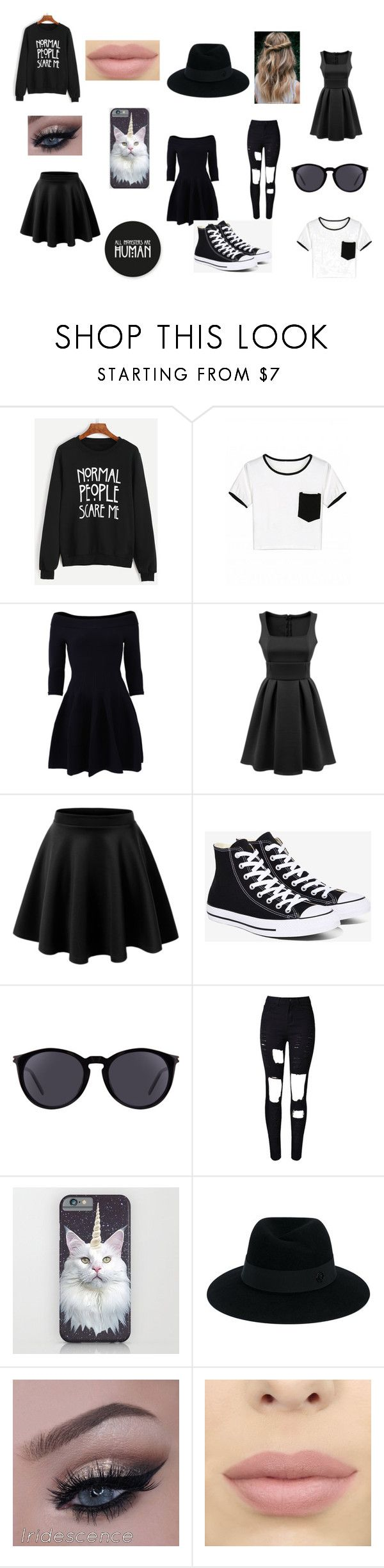 """""""you think i'm crazy?"""" by withered-ros ❤ liked on Polyvore featuring WithChic, Jonathan Simkhai, LE3NO, Converse, Yves Saint Laurent and Maison Michel"""