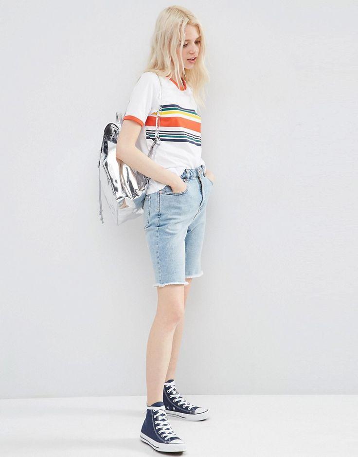 Bild 1 von ASOS – Abgeschnittene Mom-Shorts aus Denim im Stil der 90er