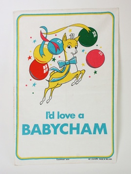 Babycham Balloon Tea Towel: Super fun Irish Linen tea towel featuring the babycham fawn with iconic slogan.