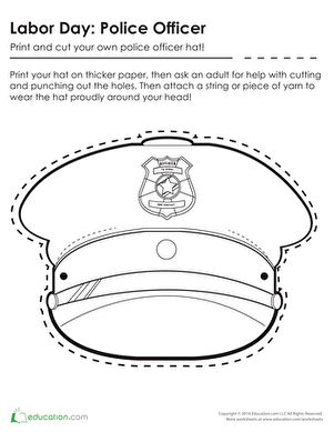 Police officer hat coloring pages coloring page for Police badge template for preschool