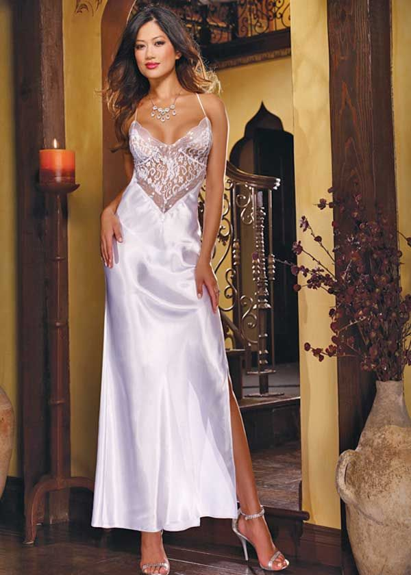 Sexy long white gown for your wedding night or honeymoon.  fa84ad279