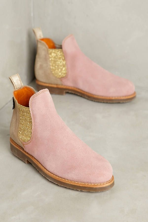 Glittery gold inset on a rosy pink frame makes for glam footwear! - Penelope Chilvers Patchwork Safari Chelsea Boots - [ad]