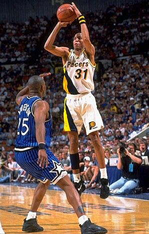 Nick Anderson (Orlando Magic) and Reggie Miller
