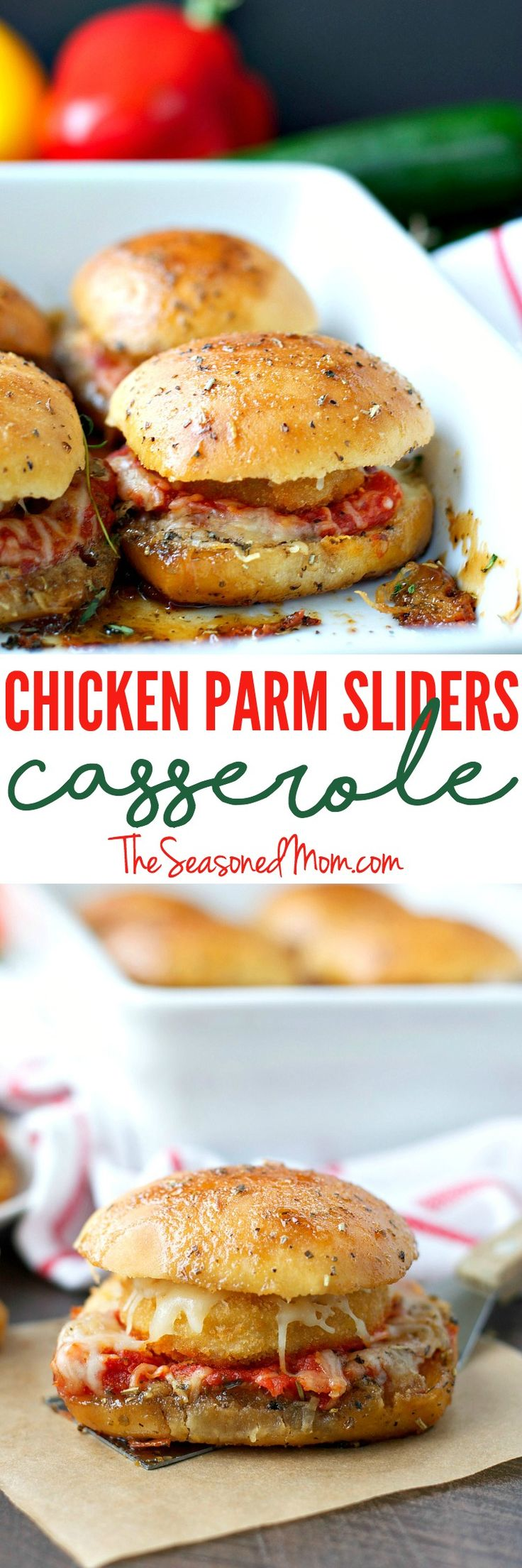 This Chicken Parmesan Sliders Casserole is a quick and easy family-friendly weeknight dinner or a perfect make-ahead party dish! No one can resist the crispy breaded chicken tucked inside sweet dinner rolls and covered in cheese and Italian butter sauce! #ad