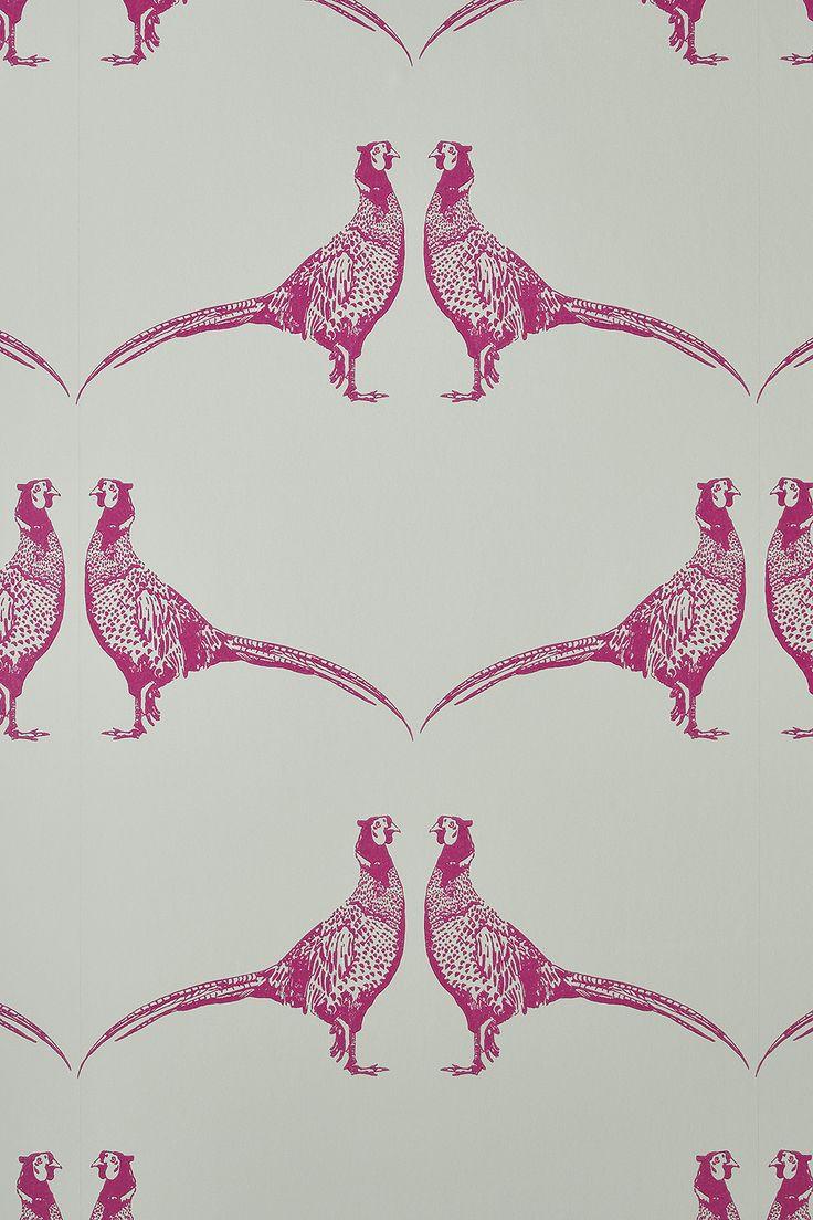 Handprinted pink Pheasant wallpaper from Barneby Gates #decorating ideas #funwallpaper