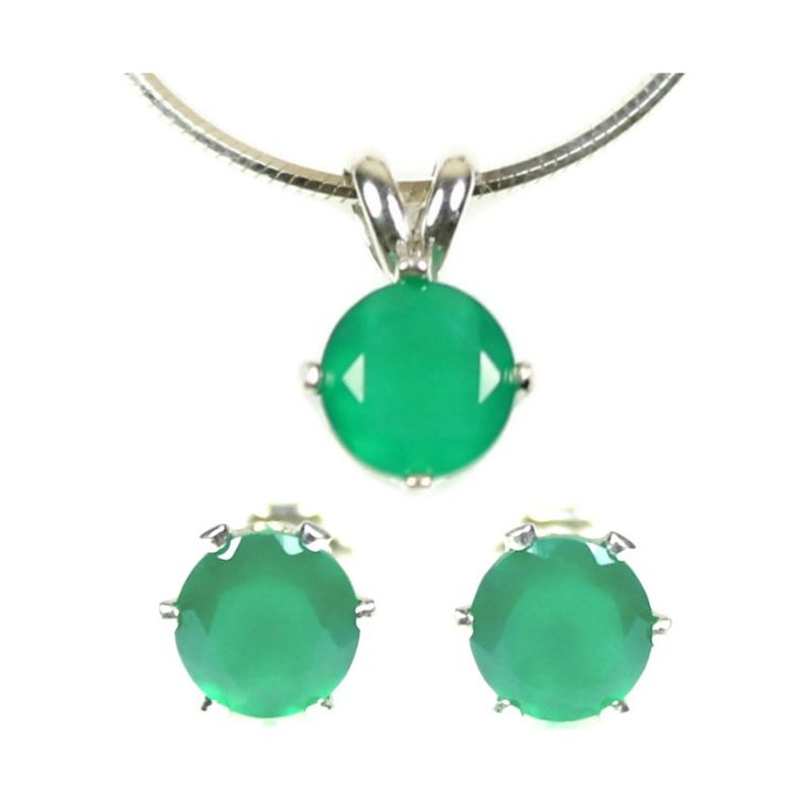 Emerald Green Onyx Jewelry Set Silver 925 Sterling Silver Earrings and Pendant Necklace with Chain Real Gemstones Post Earrings Studs Wife Birthday Present http://etsy.me/2Fe5nbH #jewelry #green #silver #onyx #no #pendant #gemstonejewelry May Birthstone Sis Gift