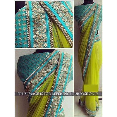 Blue Green Bollywood Saree
