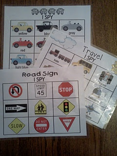 Travel I spy   Laminate or put in sheet protectors, use dry erase markers. Kids can work with peers!