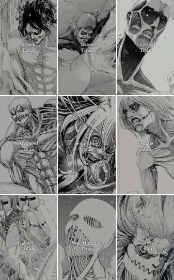 """""""Shingeki no Kyojin : Nine Titan Shifters"""" The power of the Titans (巨人の力) is the ability which allows Subjects of Ymir to transform into one of the Nine Titans #ShingekiNoKyojin #SNKChapter101 #AttackOnTitan"""