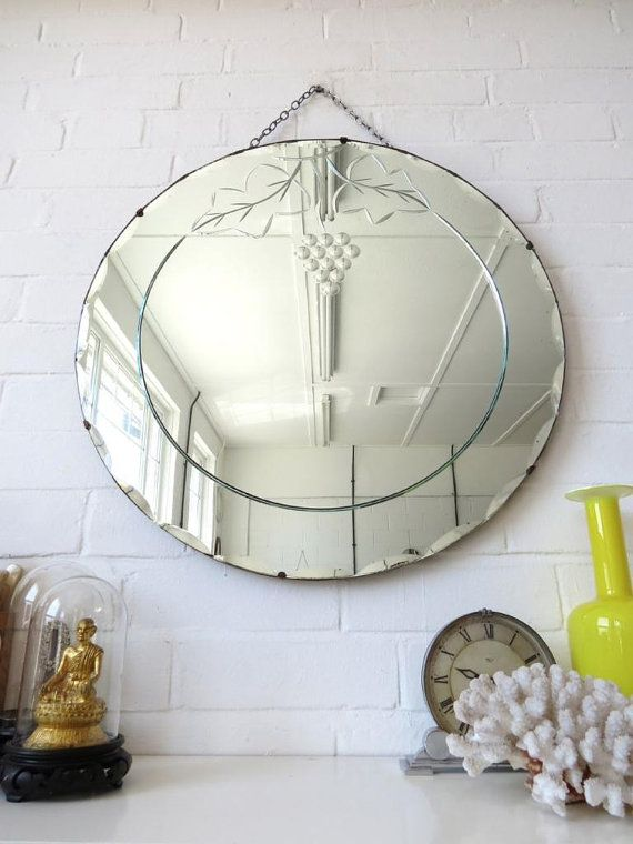 Vintage Large Round Art Deco Bevelled Edge Wall Mirror With Etsy Art Deco Mirror Etched Mirror Art Deco Wall Mirror