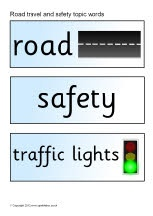 Road travel and safety topic word cards