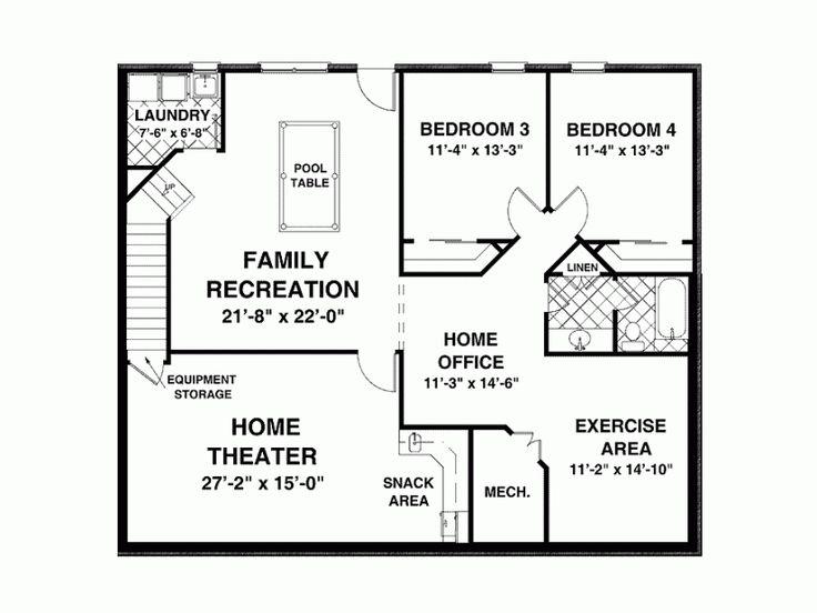 Basement for the home pinterest basement plans home for Craftsman floor plans with basement