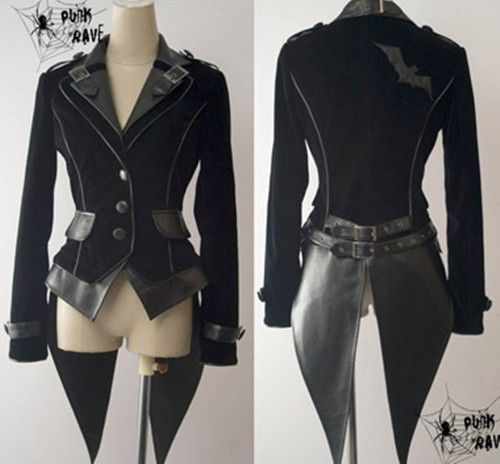 Black steampunk-inspired blazer with faux leather trim and coat tails. Features bat motif on back.. DIY the look yourself: http://mjtrends.com/pins.php?name=leather-material-for-steampunk-jacket