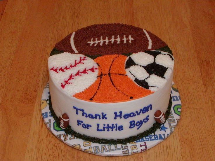 """8"""" Marble w/BC, star tipped sports balls, fondant football accents...."""
