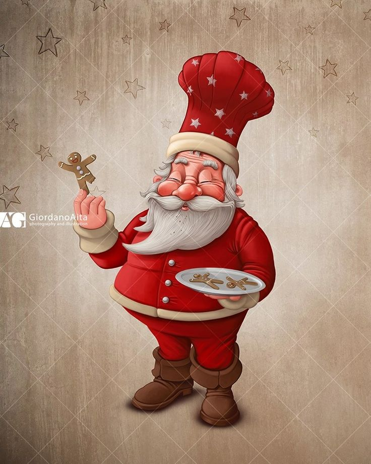 Santa Claus and gingerbread cookies $ Contact me for illustration, poster, greetings card and more $