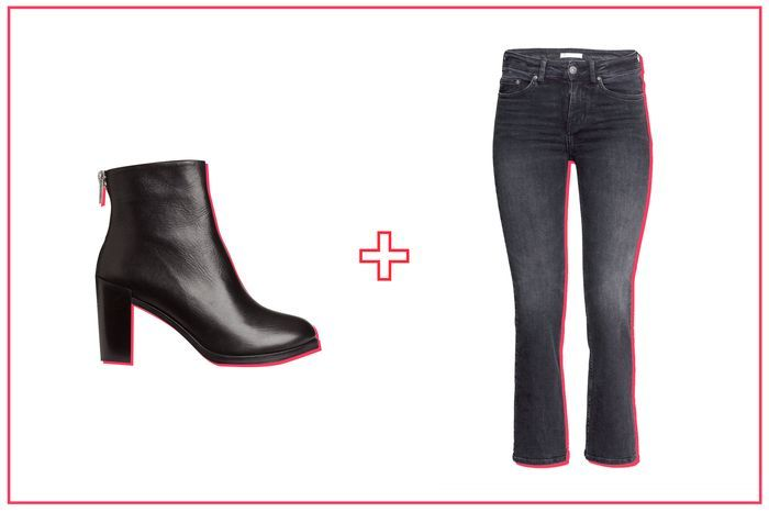 The Best Ankle Boot & Jean Pairings, Period #refinery29  http://www.refinery29.com/ankle-boots-with-jeans#slide-3  — SPONSORED —The cropped boot-cut hem on these H&M jeans is meant to show off a sleek shoe, so don't skimp with this pairing. We like a zip-up leather option with a polished black finish to play off the gray denim. The stacked heel will lengthen your silhouette, as well. ...