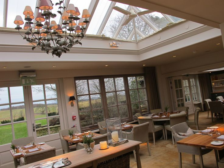 The Conservatory Restaurant at Calcot Manor Hotel & Spa in The Cotswolds. http://www.calcotmanor.co.uk/dining-at-calcot/conservatory/