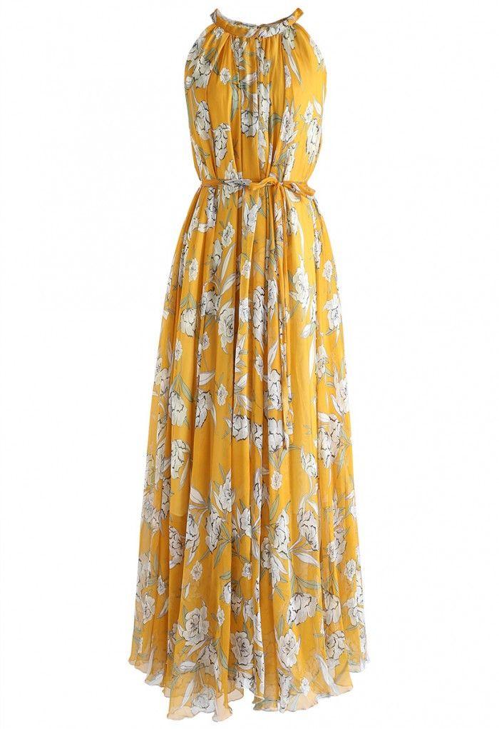 Flower Season Chiffon Maxi Slip Dress in Yellow - DRESS - Retro ... c760f7bef