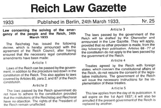 Enabling Act becomes law in Germany - archive, 1933