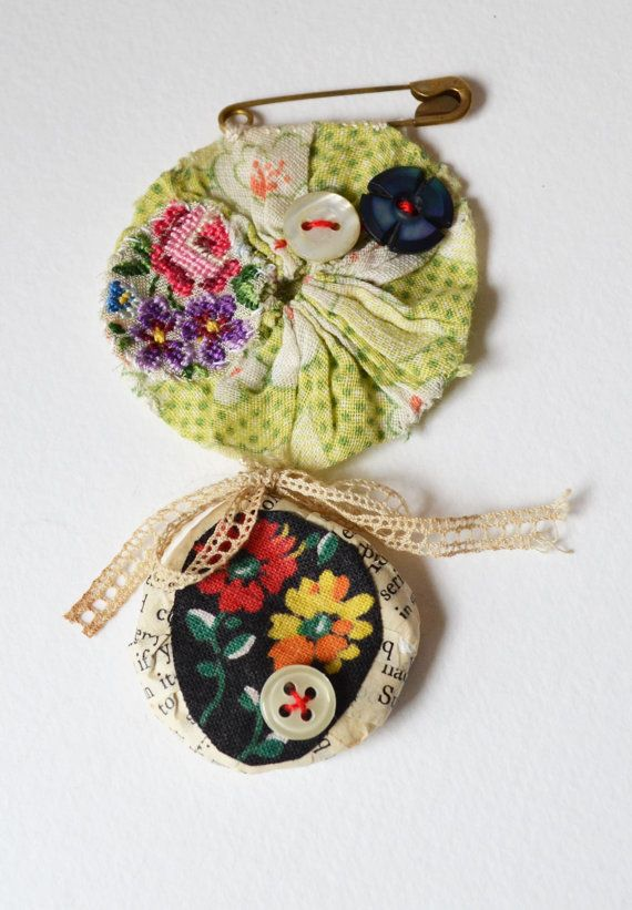 BROOCH Textile Yo Yo/Suffolk Puff and Papier Mache by hensteeth