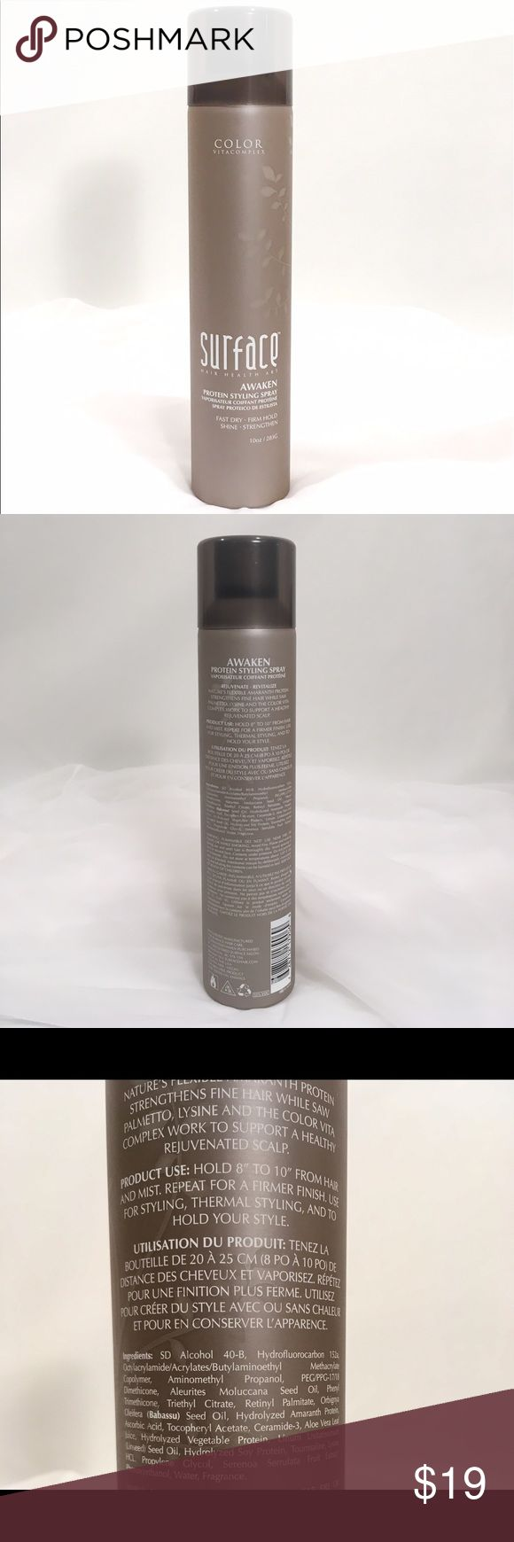 SURFACE Awaken Protein Styling Spray Firm Hold This is an authentic Surface hair product that has been previously used. Approximately 8 oz. left of this 10 oz. can. Description: Awaken Protein Styling and Finish Spray - fast dry, firm hold, shine & strengthen with Color Vitacomplex. Rejuvenate and revitalize fine, thinning hair types. Supports a healthy scalp. For all hair types. Color safe. Surface Other
