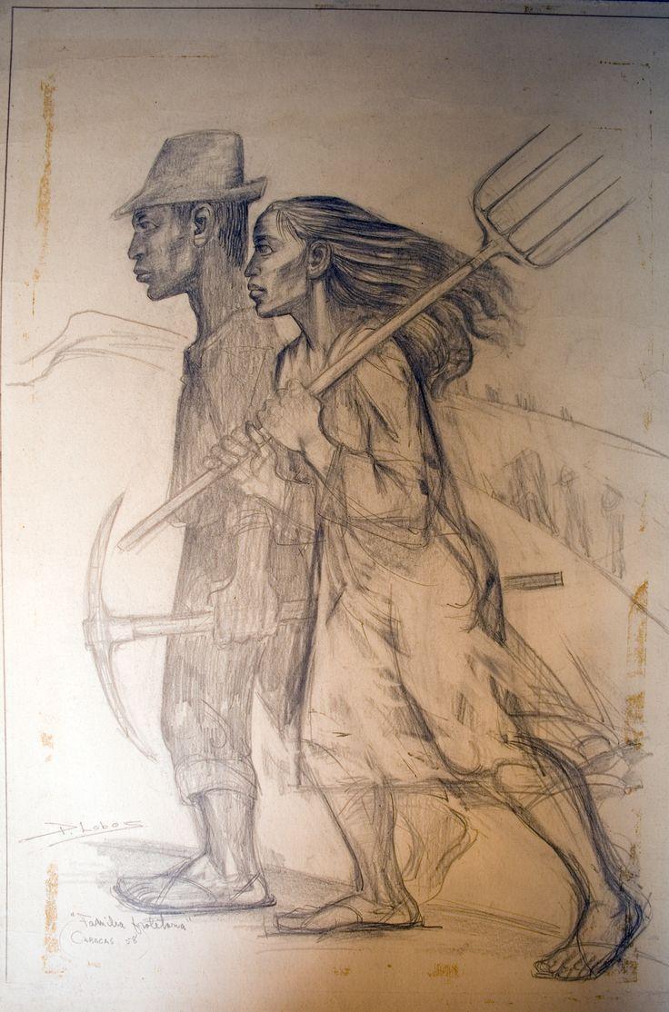 Pedro Lobos (1919-1968) Pintor y Grabador Chileno. (Boceto)