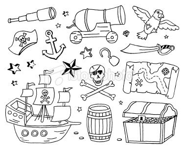 Pirate Doodles Royalty Free Stock Vector Art Illustration