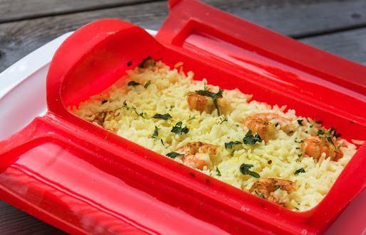 Receta de Arroz con curry y gambas - lékué