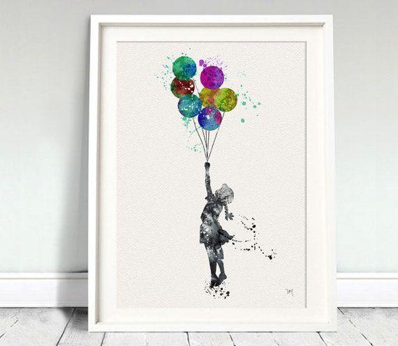BALLOON GIRL Print Ink Banksy Painting Graffiti by oinkartprints