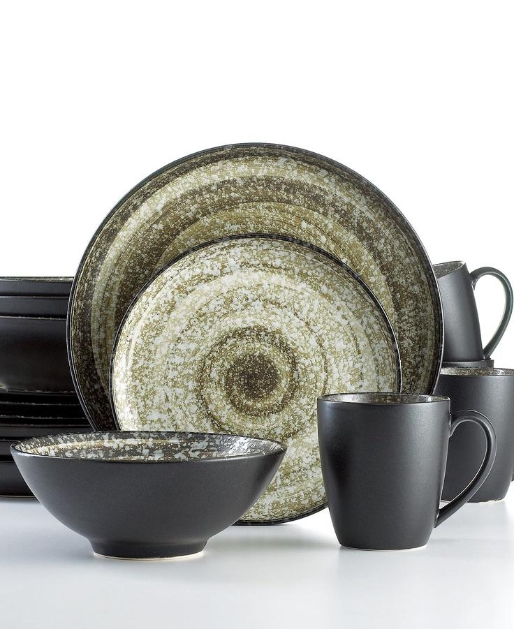Sango Dinnerware, Soho Black 16 Piece Set - Casual Dinnerware - Dining & Entertaining - Macy's