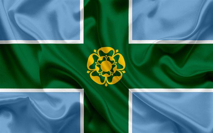 Scarica sfondi Contea di Derbyshire Bandiera, Inghilterra, bandiere delle contee inglesi, Bandiera del Derbyshire (Contea Inglesi, Bandiere, bandiera di seta, Derbyshire