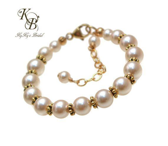 Gold Flower Girl Bracelet, Pearl Flower Girl Bracelet, Flower Girl Jewelry, Flower Girl Gift, Little Girl Bracelet, Little Girl Jewelry
