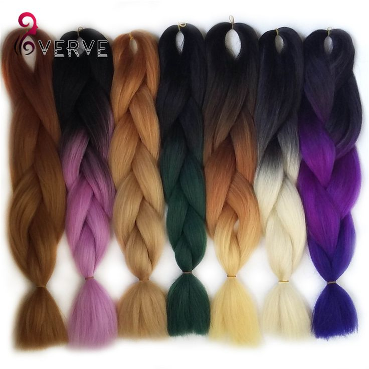 Ombre Kanekalon Braiding Hair braid 100g/piece Synthetic Two Tone High Temperature Fiber Kanekalon Jumbo Braid Hair Extensions - Deal of The Day Deal of The Day
