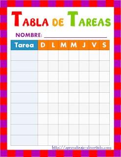 Aprendizaje Divertido: Imprimible: Tabla de tareas