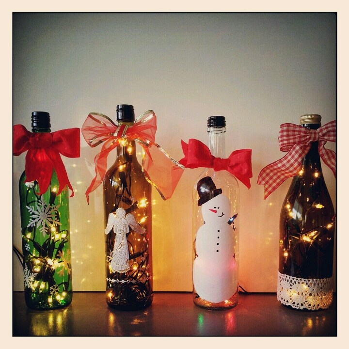 Bottle Christmas Decoration: Recycled Wine Bottle Christmas Decoration