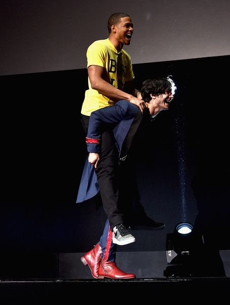 """Ezra Miller Photos Photos - Actors Ezra Miller (L) and  Ray Fisher onstage at CinemaCon 2017 Warner Bros. Pictures Invites You to """"The Big Picture"""", an Exclusive Presentation of our Upcoming Slate at The Colosseum at Caesars Palace during CinemaCon, the official convention of the National Association of Theatre Owners, on March 29, 2017 in Las Vegas, Nevada. - CinemaCon 2017 - Warner Bros. Pictures Invites You to 'The Big Picture'"""