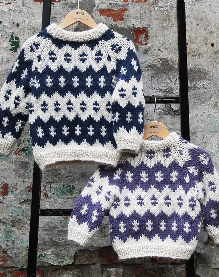 Strikkeopskrift Islandsk sweater børn