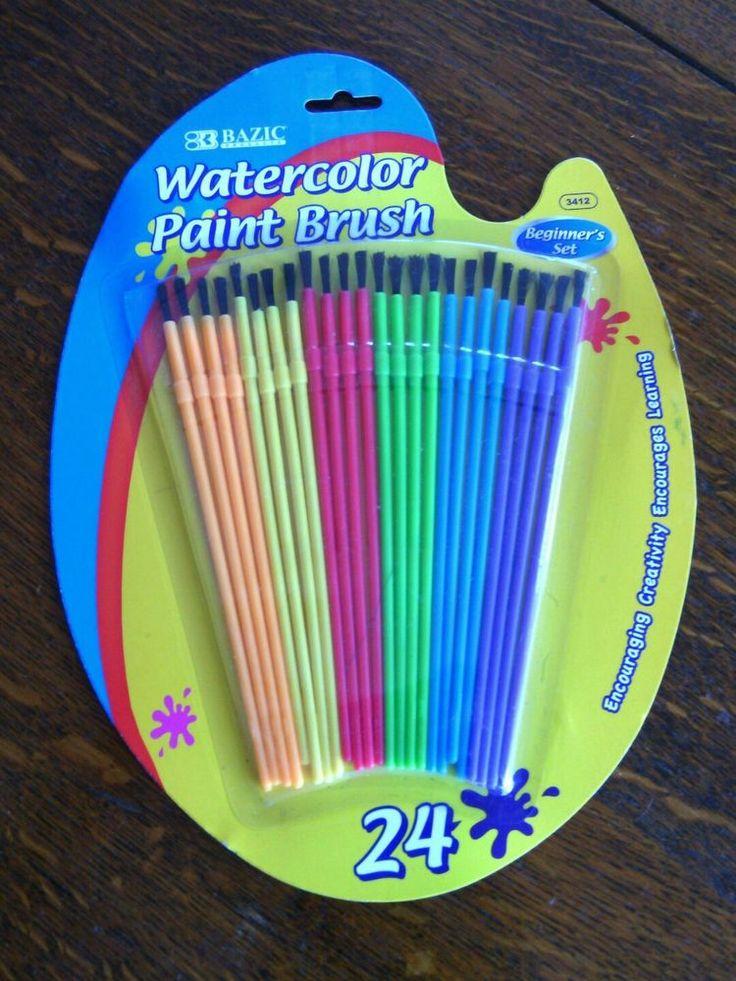 Bazic Watercolor Paint Brush 24 Pack Set Kids Art Crafts Supplies Brushes Colors | eBay