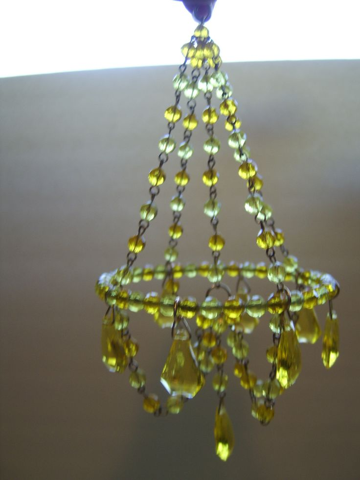 Charming simplicity. Dollhouse Amber beaded Chandelier .