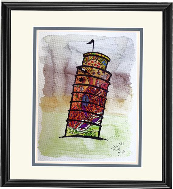 Home Decor: Illustration--Leaning Tower of Pisa--Italy, of Dream Country Series; limited prints on Etsy, $12.00
