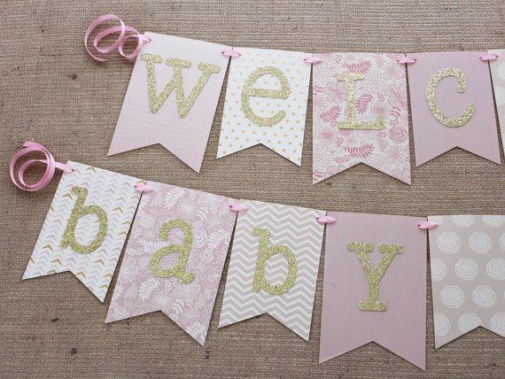 Bandera de ducha de bebé de color rosa y oro por JacqsCraftyCorner