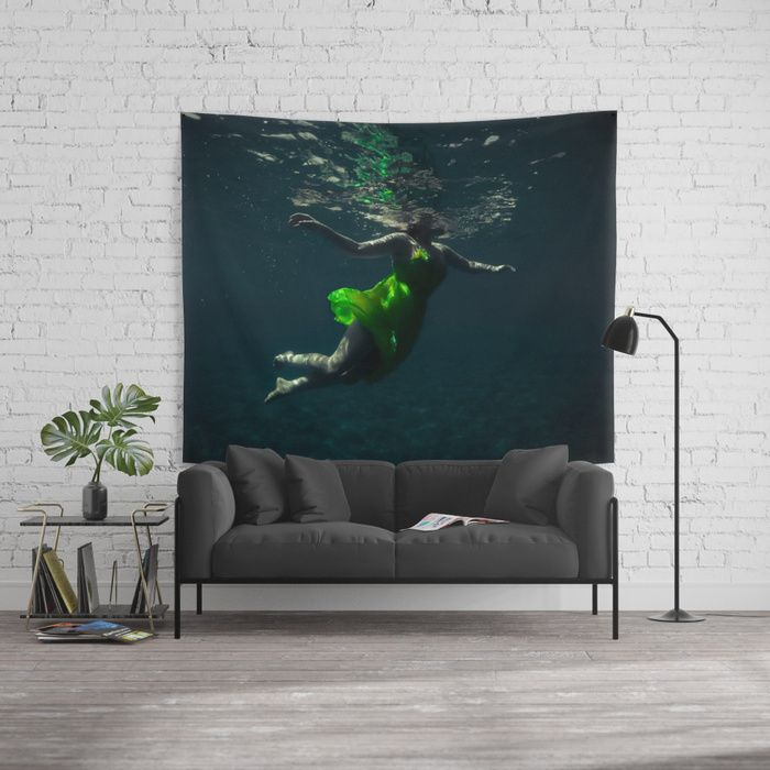 Yellow Dress. Underwater picture depicting a woman in a yellow dress dancing/ swimming in the freedom of weightlessness.  #yellow #dress #underwater #water #woman #girl #sensual #dancing #dance #dancer #reflections #homedecor #tapestry #walltapestry