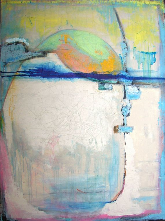 Original Abstract Painting large blue and by CherylWasilowArt