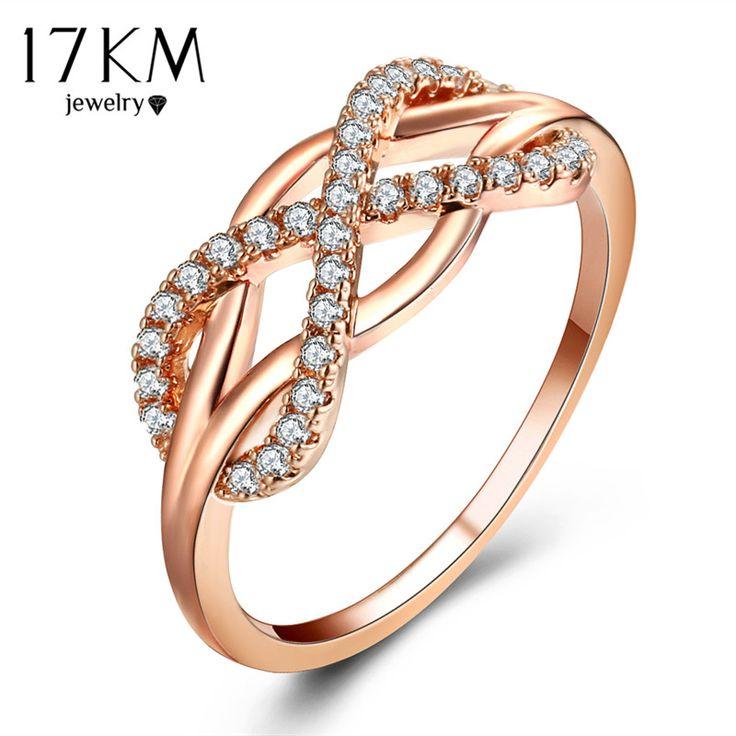Moda Oco Cristal Infinito Anéis Para As Mulheres  Declaração Do Vintage Cor de Rosa de Ouro Anel