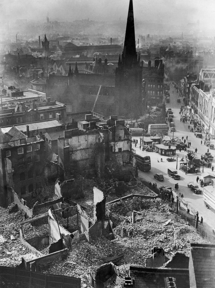 Aerial view showing bomb damage around St Martin's Church in the Bull Ring, Birmingham during the Second World War, April 1941.