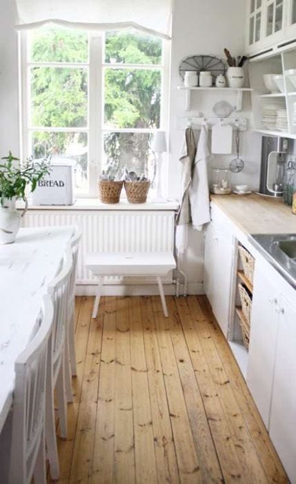 Farmhouse Kitchen Inspiration - great mix of country cottage style and farmhouse. Love those floors!