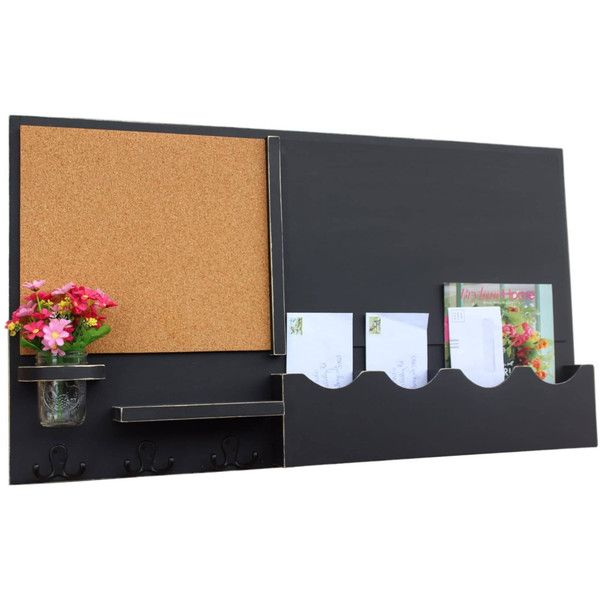 Mail Organizer Cork Board Chalkboard Message Center Coat Rack Mason... ($130) ❤ liked on Polyvore featuring home, home decor, black, home & living, message & bulletin boards, office, colored erasers, black eraser, black cork board and black home decor