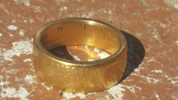 "FLASH SALE!  24K Gold 1997 JFK Half Dollar Coin Ring ""For Sale"" on ETSY made by www.PatriotCoinRings.com (photos © )"